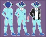 absurd_res anthro ashur balls blush border bovid canid canine caprine clothing domestic_goat erection fox fur genitals goat hi_res male mammal off/on penis purple_border sidnithefox simple_background solo