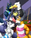 2014 5_fingers abs animal_crossing anthro apollo avian ball_licking balls beak biceps big_penis bird black_eyes black_nose blue_eyes blue_fur bottomless brown_fur canine chief_(animal_crossing) clothed clothing cum cum_string eagle erection fang_(animal_crossing) feathers fellatio fox fur gay grey_body grey_eyes grey_fur grin gripping grope group group_sex half-closed_eyes half-dressed hand_on_chest hand_on_head harem hi_res holding humanoid_penis in_mouth inside interspecies kissing leaking licking lobo looking_down male mammal manly muscles nintendo open_mouth open_shirt oral oral_sex orange_fur orgy pec_grasp pecs penis pose precum purple_eyes room sex sheath shirt smile squint stripes sucking table toned tongue tongue_out vest video_games white_body white_fur wmruckwr wolf wolfgang wood yellow_eyes yellow_fur   Rating: Explicit  Score: 12  User: togepi1125  Date: February 27, 2014