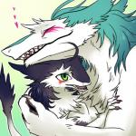 2015 <3 ambiguous_gender anthro blue_fur claws cute duo fur green_eyes hug low_res markings open_mouth purple_fur rain_silves_the_2nd raised_tail sergal sharp_teeth size_difference somenity teeth tuft white_fur  Rating: Safe Score: 1 User: GameManiac Date: August 01, 2015