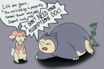 accident accidental_vore ambiguous_gender anal_vore anthan audino dialogue duo_focus feral ferrothorn grey_background group humor mammal nintendo ouch pokémon simple_background snorlax speech_bubble tears video_games vore