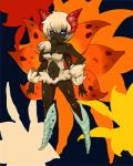 4_arms anthro blue_eyes breasts female fukurou0807 fur horn multi_arm multi_limb navel nintendo pokémon pokémon_(species) solo standing video_games volcarona wings