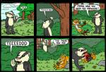 anthro bad_friends badger blood canine dialogue dying eating english_text forest fox gore group hard_vore horror humor male mammal middle_finger mustelid outside pain pandyland rodent smoking squirrel text tree vore what_has_nature_done   Rating: Questionable  Score: 5  User: Peekaboo  Date: May 17, 2014