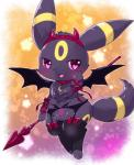 <3 <3_eyes black_eyes black_legwear blush bow choker clothing devil_horns eeveelution fake_horns feet female full_body garter_belt garter_straps hand_up horn kemono kemoribbon legwear looking_at_viewer nintendo open_mouth pokémon pokémon_(species) purple_background red_bow red_ribbon ribbons simple_background smile solo staff star thigh_highs toony umbreon video_games wings yellow_background