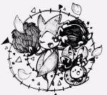 ambiguous_gender black_and_white budew duo female feral flora_fauna monochrome nintendo one_eye_closed open_mouth plant pokémon roselia simple_background size_difference standing unknown_artist video_games white_background wink