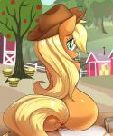 2014 anthro anthrofied anus apple applejack_(mlp) aryanne barn blonde_hair butt cowboy_hat earth_pony equine eyelashes female freckles friendship_is_magic fruit fur glass green_eyes hair hat hay horse long_hair looking_back mammal milk my_little_pony nude orange_fur outside pony pussy rear_view sitting smile solo spill tree  Rating: Explicit Score: 51 User: lemongrab Date: August 30, 2014