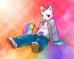 ^69 cat clothing cute feline hair male mammal multicolored_hair open_shirt piercing rainbow rainbow_hair rainbow_tail revy shirt solo spiral  Rating: Safe Score: 9 User: Arcturus Date: December 10, 2009