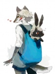 <3 amber_eyes ambiguous_gender anthro bag canine caprine carrying clothed clothing duo feral hair looking_back mammal mucknagabe red_eyes sheep standing white_hair wolf   Rating: Safe  Score: 3  User: queue  Date: September 03, 2011