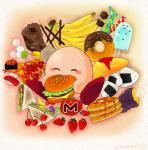 alien banana blush cake candy chocolate dessert doughnut eyes_closed food fruit ice_cream kirby kirby_(series) male nintendo not_furry pizza sandwich solo video_games waddling_head 仁麻乃  Rating: Safe Score: 2 User: Cαnε751 Date: February 06, 2016