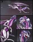 2004 anthro blue_hair claws comic dragon english_text female flying hair long_hair markie night nude open_mouth purple_scales red_eyes scalie slit_pupils solo star text toe_claws tongue wings   Rating: Safe  Score: -1  User: GameManiac  Date: April 20, 2015