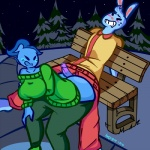 2016 angstrom anthro bench big_breasts big_butt blue_fur blush breasts butt clothing duo elemental ember_(angstrom) eyes_closed fan_character female fire_elemental fur grin hot_dogging lagomorph male male/female mammal nicecream_man open_mouth rabbit snow sweat sweater tree undertale video_games  Rating: Explicit Score: 11 User: ROTHY Date: February 02, 2016