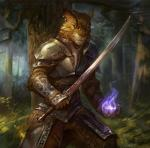 anthro armor chest_armor detailed ear_piercing feline forest full_armor fur gugu-troll holding holding_weapon khajiit leather leather_straps looking_at_viewer magic male mammal medieval_armor melee_weapon metal nature outside piercing skyrim solo standing sword the_elder_scrolls tree vambraces video_games weapon wood  Rating: Safe Score: 92 User: Munkelzahn Date: May 22, 2014