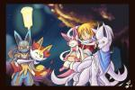 alternate_color braixen canine digital_media_(artwork) eeveelution fox group happy hug human mammal mega_evolution mega_lucario multiple_tails night ninetales nintendo ohgoshdarnthesecond pokémon scarf shiny_pokémon smile sylveon trainer video_games  Rating: Safe Score: 2 User: slyroon Date: January 02, 2016