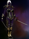 3d armor cgi drow elf female grey_hair hair purple_skin sahiryr_gemdreamer solo sword warrior weapon   Rating: Safe  Score: 2  User: SteelWings  Date: November 30, 2009