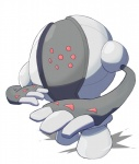 3_fingers ambiguous_gender humanoid legendary_pokémon machine nintendo pokémon ratipiko red_eyes registeel simple_background solo standing video_games white_background