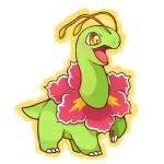 chibi cute daww feral flora_fauna huiro meganium nintendo open_mouth plant pokémon simple_background smile video_games white_background