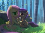 2013 bandage cub cutie_mark detailed_background duo equine female feral fluttershy_(mlp) forest friendship_is_magic grass green_eyes hair mammal my_little_pony nature outside pegasus pink_hair purple_eyes purple_hair raikoh-illust scootaloo_(mlp) side_view sitting tree wings young  Rating: Safe Score: 22 User: 2DUK Date: March 07, 2013