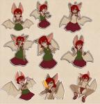 anthro antiroo bat blush bossy_the_bat breasts brown_fur clothed clothing cute eyes_closed female food fur hair laugh licking mammal open_mouth popsicle red_eyes red_hair solo suggestive suggestive_food tongue tongue_out topless wings