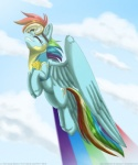 """2012 badge cloud cloudscape cutie_mark equine eyes_closed eyewear female feral flying friendship_is_magic goggles hair inuhoshi-to-darkpen mammal multicolored_hair my_little_pony outside pegasus rainbow_dash_(mlp) rainbow_hair skinsuit sky solo wings  Rating: Safe Score: 11 User: 2DUK Date: December 17, 2012"""""""