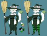 anthro bell broom choker clothed clothing collar crovirus ear_piercing eyelashes eyeshadow feline female hand_on_hip hat high_heels lipstick magic_user makeup mammal model_sheet piercing simple_background solo wide_hips witch witch_hat  Rating: Safe Score: 2 User: chdgs Date: December 08, 2015