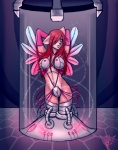 bra clothing cybernetics cyborg dreamrevolution female hair kittyflame machine red_hair solo standing underwear unknown_artist wings