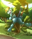 2015 absurd_res angry anus blush branches butt cutie_mark dock english_text equine female feral friendship_is_magic grass hair hi_res hooves leaves looking_at_viewer looking_back mammal multicolored_hair my_little_pony open_mouth otakuap outside pegasus pussy rainbow_dash_(mlp) rainbow_hair solo stuck text tree underhoof wings  Rating: Explicit Score: 38 User: lemongrab Date: July 24, 2015