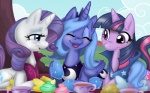 absurd_res beverage blue_eyes blue_hair blush cupcakes cute cutie_mark equestria-prevails equine eyes_closed female feral food friendship_is_magic fur grass group hair hi_res horn long_hair magic mammal muffin my_little_pony picnic princess_luna_(mlp) purple_eyes purple_fur purple_hair rarity_(mlp) short_hair smile tea teacup tree twilight_sparkle_(mlp) unicorn winged_unicorn wings wood  Rating: Safe Score: 7 User: Miss_Fluttershy Date: September 15, 2011