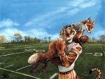 4:3 american_football anthro ball blotch canine clothing cloud cuddling detailed_background devlin_miski duo feline firebirds football_(ball) fox hi_res hindpaw holding_ball kyell_gold love male male/male mammal out_of_position outside paws romantic_couple sky sport tiger wallpaper wiley_farrel