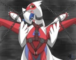 ambiguous_gender avian bandage blue_eyes blue_fur blue_skin blush chain duo fadingsky female feral fur latias legendary_pokémon looking_at_viewer lugia male nintendo open_mouth pokémon pussy pussy_floss pussy_juice red_skin simple_background tongue video_games white_skin yellow_eyes  Rating: Explicit Score: 11 User: Hydr0 Date: January 30, 2015