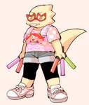 <3 alphys anthro black_clothing black_legwear bottomwear breasts buckteeth clothing eyewear female footwear front_view full-length_portrait glowstick grey_bottomwear grey_clothing grey_shorts holding_object legwear lizard mew_mew_kissy_cutie non-mammal_breasts pattern_shirt pink_clothing pink_shirt pink_topwear portrait reptile scalie shirt shirt_logo shoes shorts simple_background sneakers solo standing sunglasses t-shirt teeth thick_tail tktk_nmnm topwear undertale video_games yellow_body