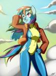 2015 anthro anthrofied clothing cloud equine eyewear female flight_jacket friendship_is_magic goggles hair hand_on_hip jacket looking_up mammal multicolored_hair my_little_pony outside pegasus pose purple_eyes rainbow_dash_(mlp) rainbow_hair skecchiart skinsuit sky solo wings  Rating: Safe Score: 14 User: 2DUK Date: February 12, 2015