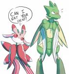 2016 antennae anthro arthropod blade_arm blush dialogue duo english_text female flora_fauna green_body hi_res humor insect insect_wings lurantis male mantis nintendo nude pink_body plant pokémon red_eyes red_sclera scyther simple_background speech_bubble standing text unknown_artist video_games white_background white_body wings