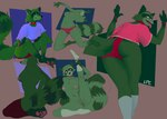 anthro barefoot bent_over breasts butt choker claws clothed clothing digital_media_(artwork) feet female fluffy fluffy_tail footwear fur genitals green_body green_fur hi_res jewelry kneeling lizz_(thelordp_chan) looking_at_viewer mammal mostly_nude multiple_poses navel necklace one_leg_up pawpads paws pose procyonid pussy raccoon raised_leg red_eyes simple_background sitting sketch socks solo thelordp_chan toe_claws toes tongue tongue_out topless underwear