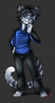 anders anthro blue_eyes cat clothed clothing feline front_view fully_clothed grey_background keishinkae male mammal pants pose signature simple_background solo standing