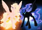 2016 abstract_background airbusthebest angry animated blonde_hair blue_eyes blue_feathers blue_fur blue_hair cutie_mark duo equine equum_amici feathered_wings feathers female feral fire friendship_is_magic fur hair horn looking_at_viewer mammal my_little_pony princess_celestia_(mlp) princess_luna_(mlp) purple_eyes silfoe spread_wings white_feathers white_fur winged_unicorn wings  Rating: Safe Score: 11 User: ConsciousDonkey Date: March 14, 2016