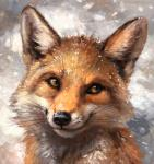 2017 abstract_background ambiguous_gender black_fur black_lips black_nose canine countershade_face countershading day detailed feral fluffy fox front_view fur headshot_portrait inner_ear_fluff kenket long_mouth looking_away mammal no_sclera orange_eyes orange_fur painting_(artwork) portrait red_fox shadow slit_pupils smile snout snow snowing solo traditional_media_(artwork) whiskers white_fur