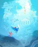 2013 building cloud cloudsdale equine female flying friendship_is_magic hair mammal multicolored_hair my_little_pony outside pegasus purple_hair rainbow_dash_(mlp) rainbow_hair sayuri1314 scootaloo_(mlp) sky white_eyes wings  Rating: Safe Score: 5 User: 2DUK Date: January 27, 2015