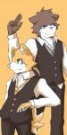 anthro bear brown_eyes canine duo fox fur green_eyes male mammal orange_background orange_fur silverio simple_background  Rating: Safe Score: 1 User: Riversyde Date: September 22, 2010