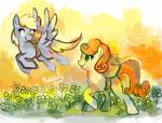 2012 blonde_hair carrot_top cuteskitty derpy_hooves_(mlp) duo equine eyelashes female flower friendship_is_magic fur green_eyes grey_fur hair horse mammal my_little_pony orange_hair outside plant pony yellow_eyes yellow_fur   Rating: Safe  Score: 5  User: DeltaFlame  Date: February 14, 2015