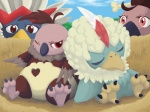 braviary bubonikku day female feral group male mandibuzz nest nintendo pokémon rufflet video_games vullaby young