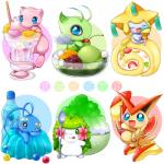 blue_eyes bottle bowl celebi cherry cone dessert eyes_closed feral flora_fauna flower food fruit fur glass green_eyes group hi_res humanoid ice_cream jello jirachi legendary_pokémon manaphy melon mew nintendo one_eye_closed open_mouth pink_fur plant pokémon shaymin simple_background spoon text tongue tongue_out victini video_games water watermelon white_background wings wink アイミ