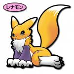 apricolor digimon japanese_text pixiv plain_background rag. renamon sitting solo text white_background   Rating: Safe  Score: 5  User: Luminocity  Date: April 22, 2014