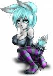 absurd_res anthro big_breasts breasts cjrfm cleavage clothed clothing darklitria dress female hair hi_res lagomorph leggings legwear looking_at_viewer mammal nicky_the_rabbit oppai_loli rabbit simple_background slit_pupils solo stockings striped_footwear striped_legwear stripes white_background  Rating: Safe Score: 4 User: Munkelzahn Date: July 25, 2013