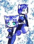 anthro belt black_nose blackby blue_fur blue_hair bodysuit canine clothing duo female fox fur green_eyes hair hair_ornament jewelry krystal mammal nintendo open_mouth short_hair signature skinsuit star_fox video_games white_fur   Rating: Safe  Score: 0  User: Cαnε751  Date: March 05, 2015