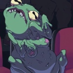"""2015 amphibian animated anthro armpit_hair bald breasts female frog green_skin lips misleading_thumbnail navel pasties red_lips sitting speedosausage teeth twitching vein warts yellow_eyes  Rating: Questionable Score: -15 User: Zagareus Date: July 05, 2015""""  Flagged: Broken/corrupted file"""