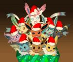 2014 ambiguous_gender blue_eyes blush brown_eyes canine christmas eevee eeveelution espeon feral fin flareon glaceon group hat holidays jolteon leafeon looking_at_viewer mammal nintendo open_mouth pokémon red_eyes santa_hat sylveon umbreon vaporeon video_games winick-lim  Rating: Safe Score: 10 User: Mienshao Date: December 25, 2014