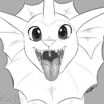 2015 ambiguous_gender cute drooling eeveelution feral looking_at_viewer monochrome mouth_shot nintendo nummynumz open_mouth pokémon saliva solo teeth tongue tongue_out vaporeon video_games  Rating: Questionable Score: 5 User: DeltaFlame Date: April 17, 2015