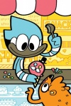 anthro avian bird blue_jay cake candy cartoon_network comic corvid cupcake dessert duo flan flat_colors food ice_cream male mammal mordecai_(regular_show) popcorn procyonid raccoon regular_show rigby_(regular_show) source_request toony unknown_artist