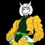 2015 anthro asriel_dreemurr black_sclera boss_monster caprine clothed clothing cosplay dio_brando fallen-justice fur goat hi_res jojo's_bizarre_adventure male mammal simple_background solo undertale video_games white_fur