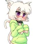 :3 anthro black_nose blonde_hair blush bottomless cat chest_tuft claws clothed clothing collar cute feline female fur hair half-dressed hoodie hoodie_(artist) mammal necktie pink_fur pink_hair purple_eyes short_hair simple_background solo tuft whiskers white_background  Rating: Safe Score: 9 User: t-hoodie Date: August 09, 2015