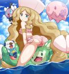 bikini blonde_hair blue_eyes butt caitlin camel_toe clothing cloud fangs female feral flower gothita hair happy human human_focus looking_at_viewer looking_back mammal munna nintendo open_mouth oshawott panties plant pokemoa pokémon rear_view reuniclus sea sky swimsuit underwear video_games water